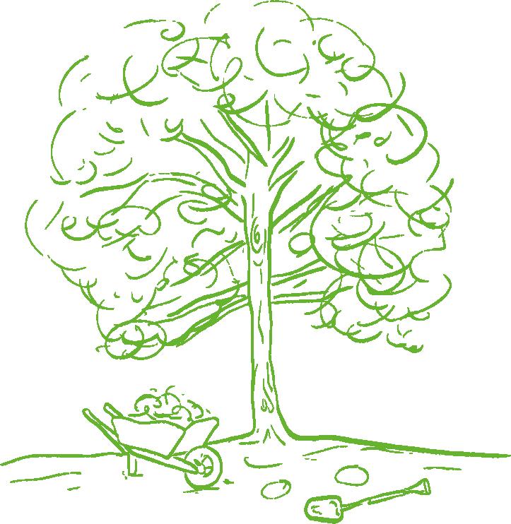 An illustration of a wheelbarrow under a tree