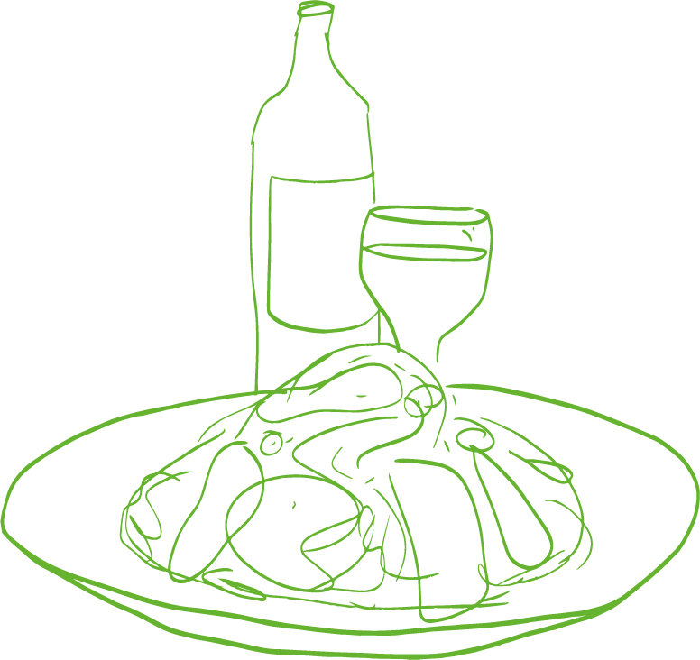 An illustration of a plate of food with a wine bottle