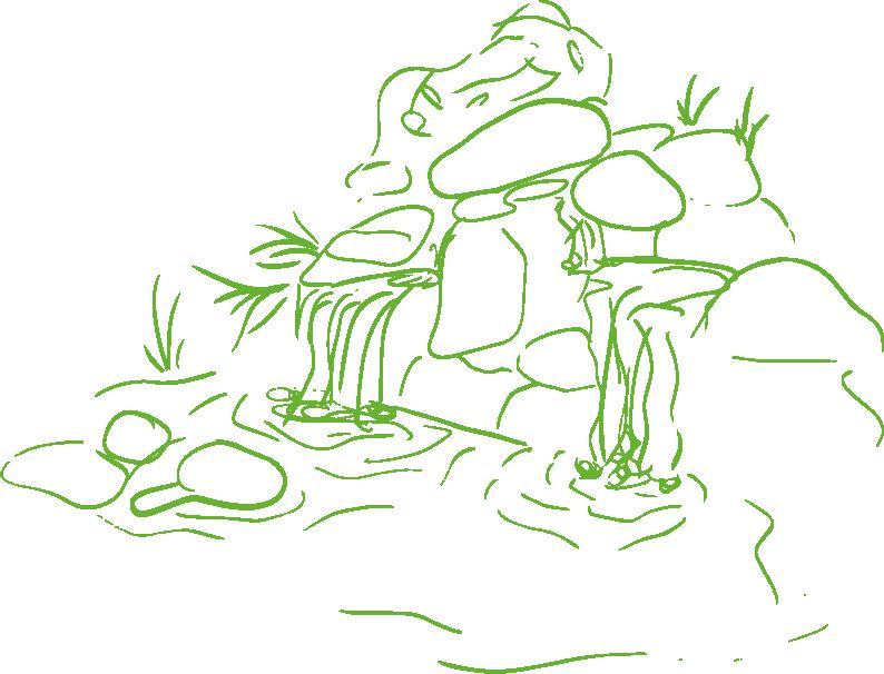 An illustration of a rock pool garden