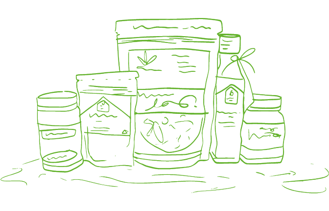 An illustration of packaged farm produce