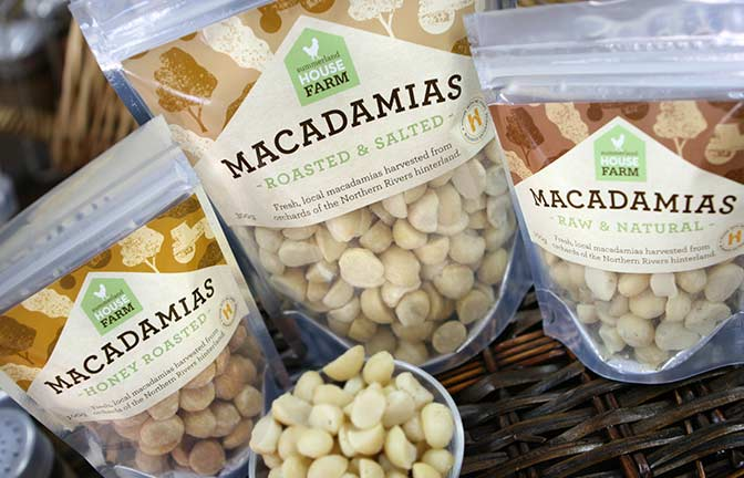 Packaged macadamia nuts