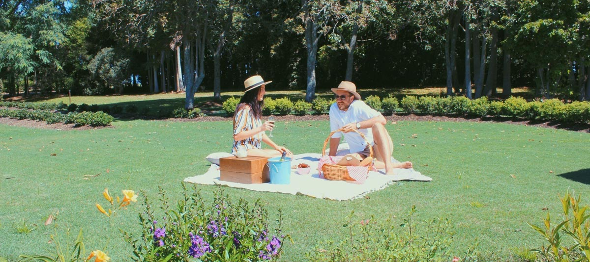 A couple enjoying a picnic on grassy lawn