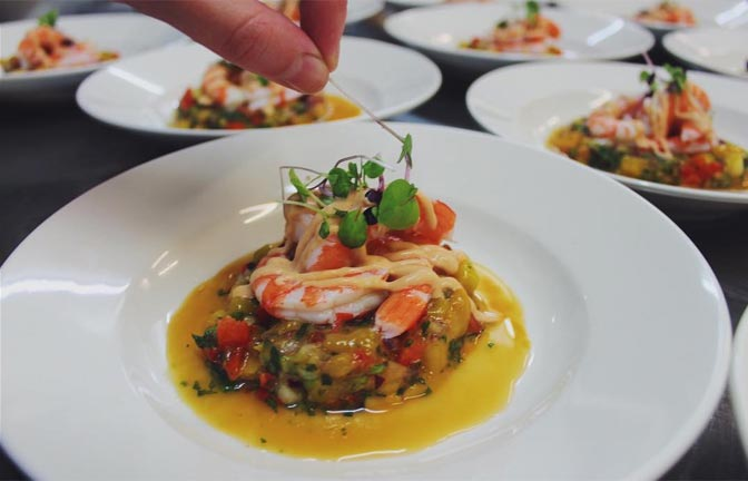 Colourfully presented plates of fine food