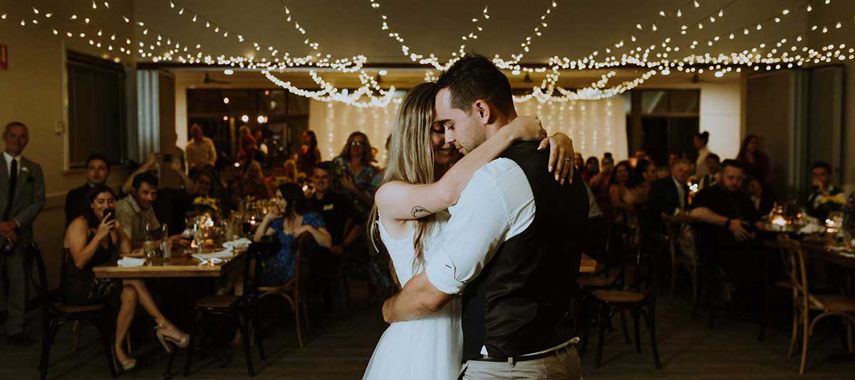 Newly weds dance in the Function Room at Summerland Farm